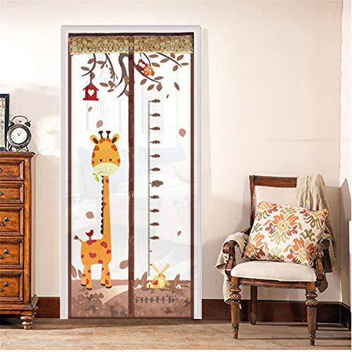 Magnetische giraffe deur, bescherming tegen insecten, muggennet, deurgordijn, duty, balkon, schuifdeuren, woonkamer voor kinderen in de slaapkamer, met 1 verpakking met ritssluiting 100x210cm Bruin