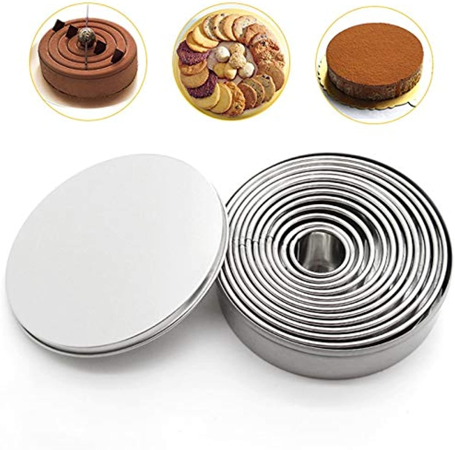 Farmerly 12Pcs Set Stainless Steel Cookie Cutter Cake Decoration Molds Biscuit Cookie Presser Mousse Cake Ring Baking Tool