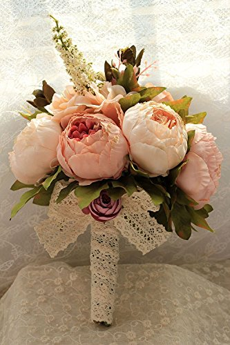 SISJULY Artificial Peony Silk Flowers Bouquet Home Wedding Decoration (Champagne)