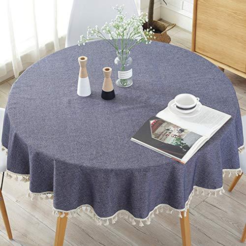 Mantel redondo sencillo de borla de algodón macizo de 127 cm de lino a prueba de polvo para decoración de mesa de cocina o comedor, As Picture Show, navy blue+ tassel