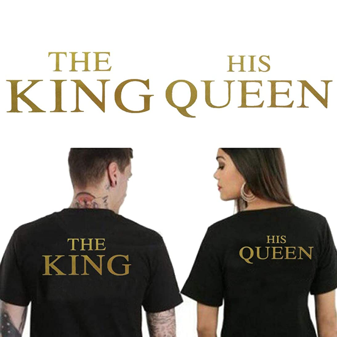 Iron On Stickers for Couples The King and HIS Queen Iron On Patch DIY Gold T-Shirt Sweater Thermal Transfer Paper Patches for Clothing Valentine's Day Gifts(2 PCS)