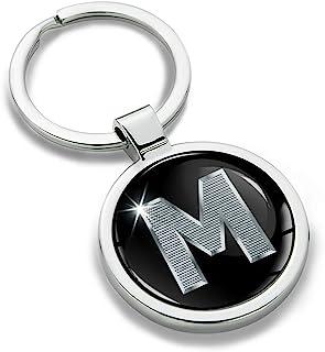 Biomar Labs® Llavero con Iniciales Personalizadas del Alfabeto de Metal en 3D, Plata para Hombres y Mujeres, Carta de Regalo M, KK 13