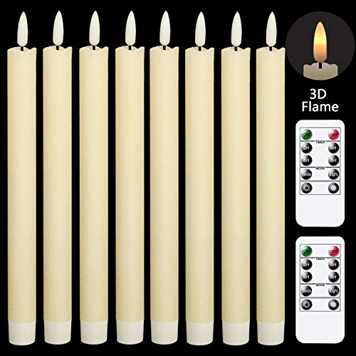 GenSwin Flameless Flickering Taper Candles with 2 Remote Controls and Timer, Real Wax 3D Wick Light Window Candles Battery Operated Pack of 8, Christmas Home Wedding Decor(Ivory, 0.78 X 9.64 Inch)