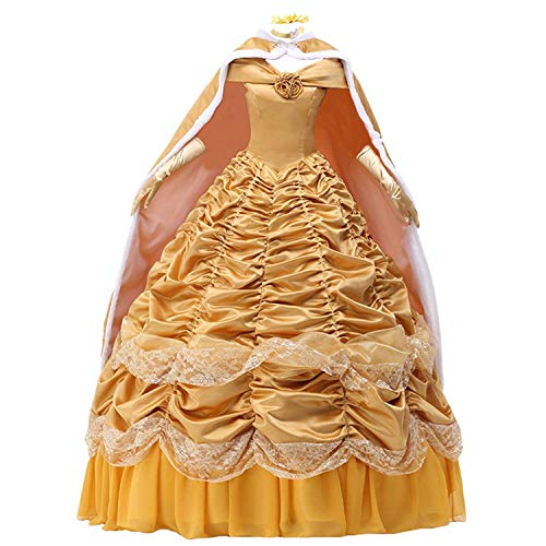 Womens Princess Dress Satin Party Costume Ball Gown Prom, Yellow, Size X-Large