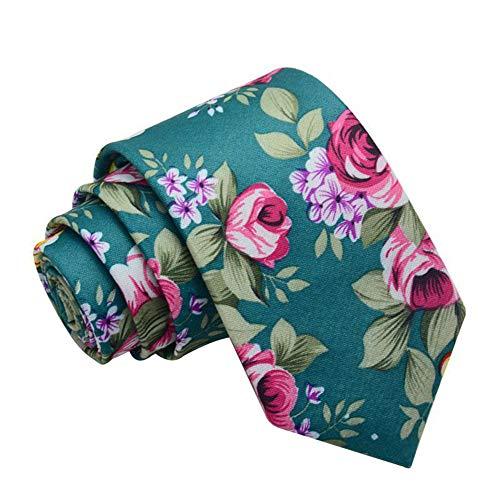 JUNGEN Corbata de Hombre Corbata de Estampada de Flores Vintage Corbata de Estrecha Corbata de Elegante para Citas Festival Size 145 * 6cm (Verde)