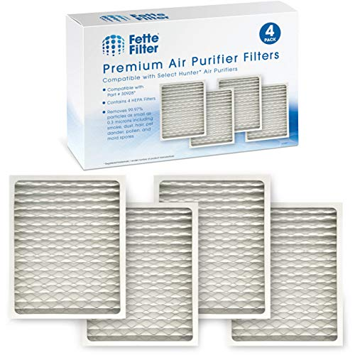 Fette Filter - Pack of 4 HEPAtech Replacement Filters Compatible with Hunter 30928 Fits Models #'s 30057, 30057A, 30059, 30060, 30061, 30067, 30067A, 30078, 30079, 30097, 30124, 30126, 30180, 30183