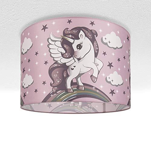 Kinderlampe Deckenlampe LED Pendelleuchte Kinderzimmer Lampe Mit Einhorn, E27, Lampenschirm:Pink (Ø45.5 cm), Lampentyp:Deckenleuchte Silber