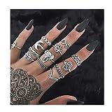 IYOU Set di anelli vintage con pietre preziose in argento e cristallo a nocche impilabili anelli Boho Moon Mid Ring gioielli per donne e ragazze (10 pz) …