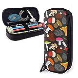 Estuches de lápices con cremallera multiusos para la escuela, suministros de oficina, diseño de setas y plantas (11)