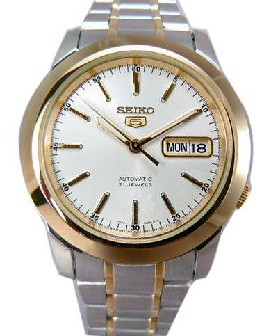 Seiko5 para hombre automático en 2 tonos de caja y correa de reloj infantil con mecanismo de esfera blanca SNKE54K1