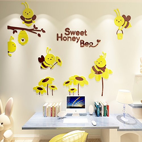 Cute Bees Cartoon Wall Stickers 3D Wall Stickers Bedroom Children's Room Decoration Kindergarten Classroom Wall Stickers,922 Bees - Medium Yellow Coffee,Small