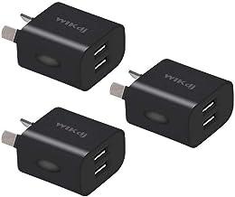 Australia USB Wall Charger Plug, WIKDJ 5V/2.1A Dual USB Plug Charger Power Adapter for iPhone, Samsung Galaxy, Huawei, HTC, LG, Table, Motorola, Nokia and More [3Pcs Black]