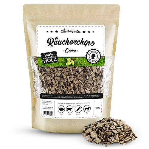 Räuchergarten Premium Räucherchips - 1kg Eiche Smokerchips für optimales Raucharoma beim Grillen - 100{f3346b57911729e9a740755132c01c33a8531a20667ff8d87c4f60bba463d54b} natürliches Räucherholz aus Deutschland