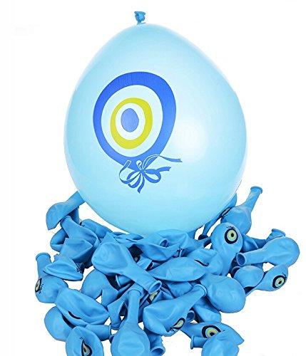 10 Stück Luftballons (Farbe: blau) Nazar Boncuk 1A Qualität - blaues Auge - türkischer Glücksbringer - gegen den bösen Blick/ Sünnet Kiyafeti Kina Beschneidungsanzug Masallah Nisan Sünnet Balonu Nazar