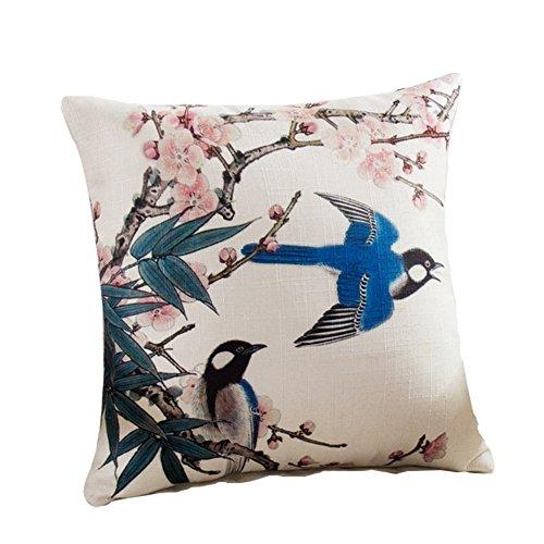 jingyuu Lino Flores y pájaros grande Calidad Sofá almohada sofá almohada con cremallera para sofá silla Respaldo Asiento Cojín y heimtextilien 45* 45cm ( sin almohada ) Núcleo, lino, Stil-2, 45 x 45 cm