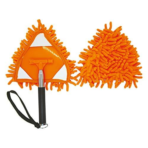 コモライフ ホコリキャッチャー 伸縮モップ 三角 ホコリ 床 伸縮約26〜76cm マイクロファイバー トイレ 掃除 ハンディモップ