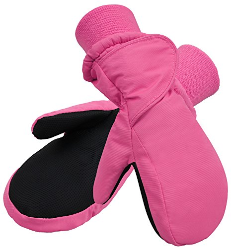 SimpliKids Children's Snow Sports Waterproof Winter Girls Mittens Gloves,XS,Fuchsia
