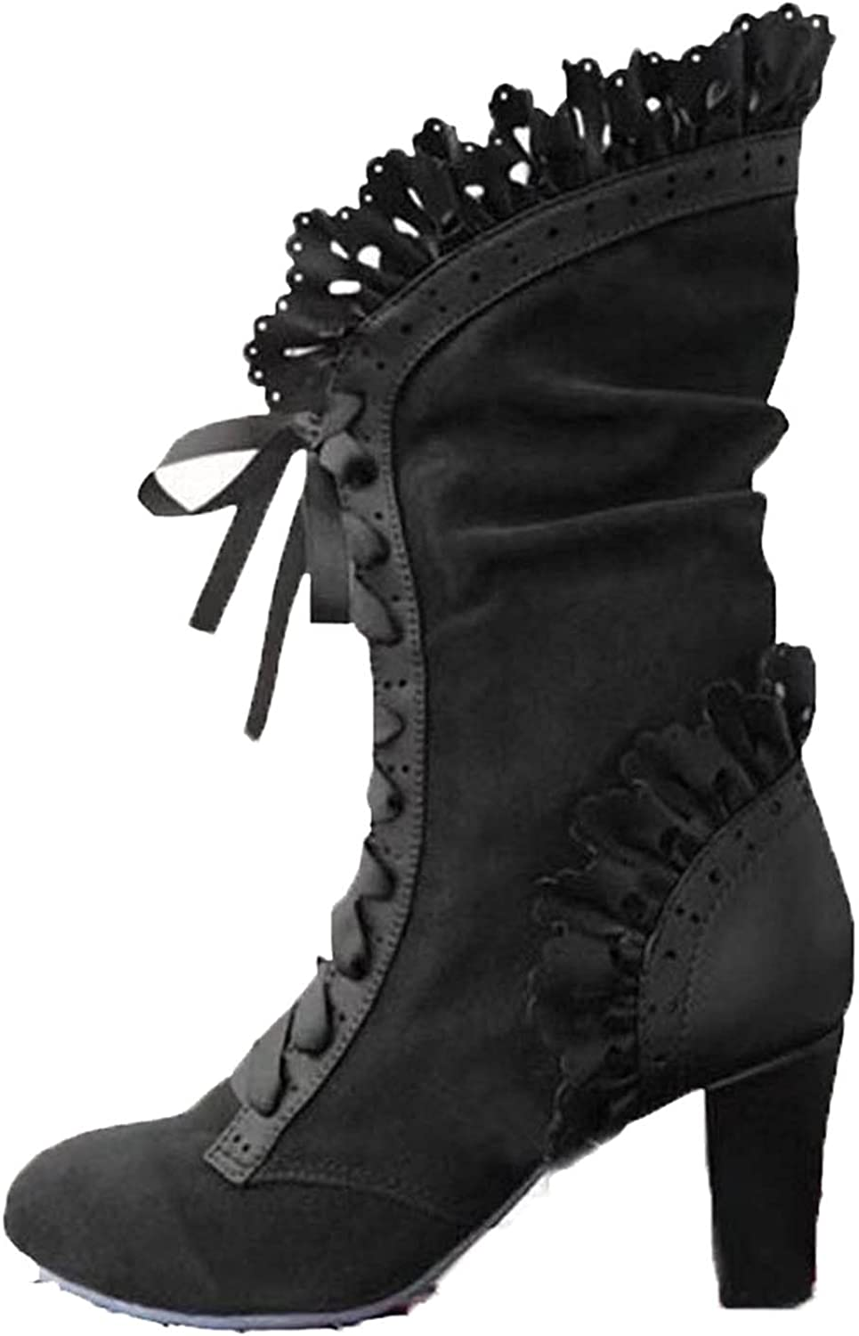 Erocalli Women Goth Boots Black Sweet Bow Mid Calf Boots Mid Heels Lace Up Studded Bowknot Witch Boot