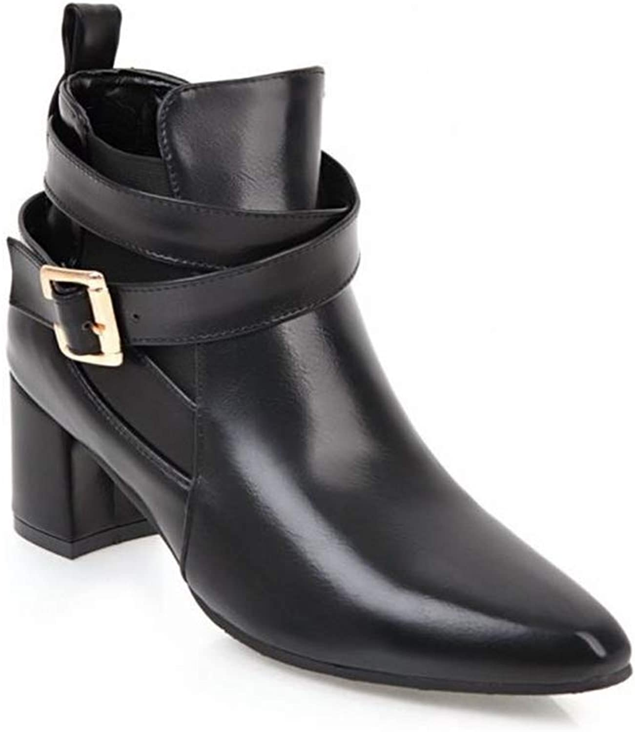 Super explosion Women's Pointed Toe Leather Buckle Strap Block Heel Ankle Booties