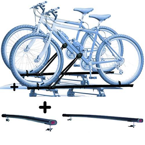 PROPOSTEONLINE Due Portabici per Tetto Auto per SsangYong REXTON 5p (2002-2006) 2X Porta Biciclette universali Inclusi di Barre Portatutto