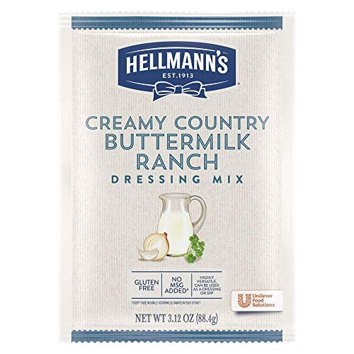 Hellmann's Creamy Country Buttermilk Ranch Salad Dressing Dry Mix Pouch Gluten Free, No added MSG, 3.12 oz, Pack of 18