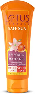Lotus Safe Sun Invisible Matte Gel Sunscreen SPF 50 PA+++ , For Men & Women, Non-Greasy, Suitable for Oily Skin, 100g