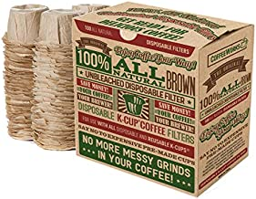 Disposable Natural Brown Unbleached Paper Coffee Filters - Replacement Filters For Single Serve Keurig 1.0 and 2.0 Brewers - Compatible with All Reusable K-Cups - Use Your Own Coffee (100 Filters)