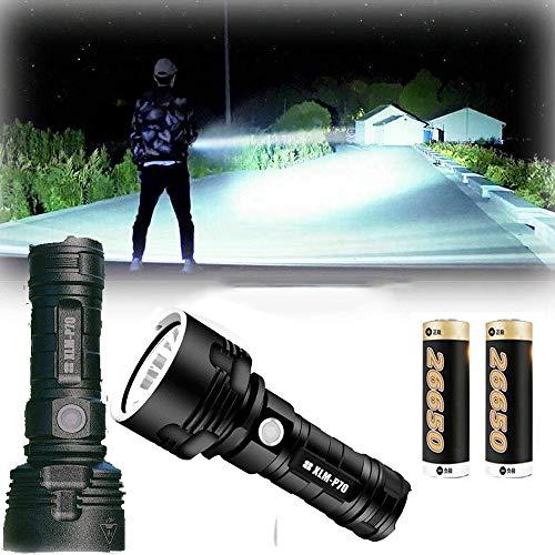 LED Hand Taschenlampe wiederaufladbar, 30000-100000 Lumen Hochleistungs-LED wasserdichte Taschenlampe , Perfekt für Camping, Wandern, Notfall usw. (XLM-P70, ZWEI-Batterie)