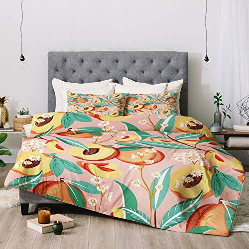 Duvet Cover Bed Set Comforter & Sheet Set Peach Season Bedding Sets 86x70 Inch Comforter Sets with 2 Bedroom Pillow Covers 20x30 Inch