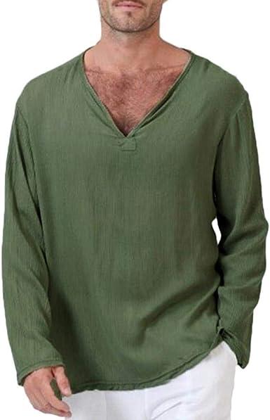 Camiseta Hombre Hombre Ropa Yoga Tops Blusa Hombre para Camiseta Manga Larga Mode De Marca Algodón Lino Tailandés Hippie Camisa, Cuello En V Hombres ...