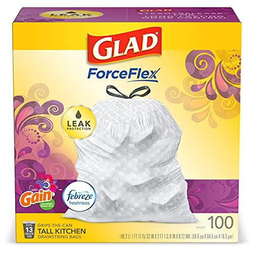 Glad ForceFlex Tall Kitchen Drawstring Trash Bags 13 Gallon White Trash Bag, Gain Moonlight Breeze...