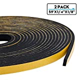 Adhesive Foam Tape,Insulation Soundproofing Neoprene Rubber Doors and Windows Weather Stripping,Waterproof,Plumbing, Cooling,Air Conditioning,Craft Tape(59' (L) X1/4 Inch WideX1/8 Inch Thick,3 Rolls)