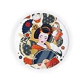 Lingerin Japanese Kimono Geisha Koi Fish Portable Make-up Powder Container Air Cushion Puff Case with Powder Puff and Mirror Refillable Foundation BB Cream Box. One Size