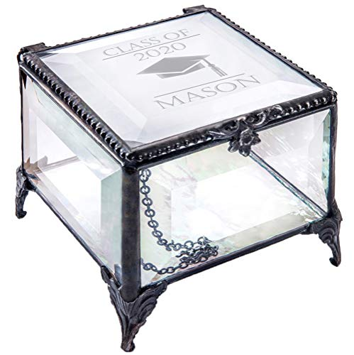Personalized Graduation Gift For Her Glass Jewelry Box Engraved Keepsake For High School Graduate Or College Grad Class Of 2020 Daughter Granddaughter Girl Friend J Devlin Box EB240 (Clear Beveled)