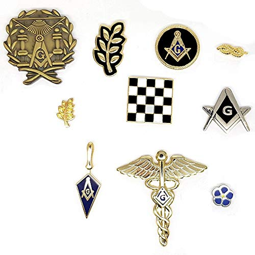 BOBIJOO Jewelry - Los Set 10 Freimaurerstifte Säulen Pflaster Mosaik Akazie Knoten Klammer Kompass Myosotis G.
