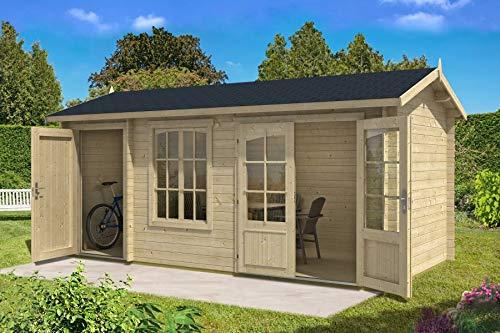 Alpholz 2-Raum Gartenhaus Bolton-28 XL aus Massiv-Holz | Gerätehaus mit 28 mm Wandstärke | Garten Holzhaus inklusive Montagematerial | Geräteschuppen Größe: 540 x 260 cm | Satteldach