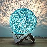 Lampe de Table de Rotin Lumière de Nuit Lune, Nuit Chevet avec Base en Bois (Bleu, Interrupteur à Bouton)