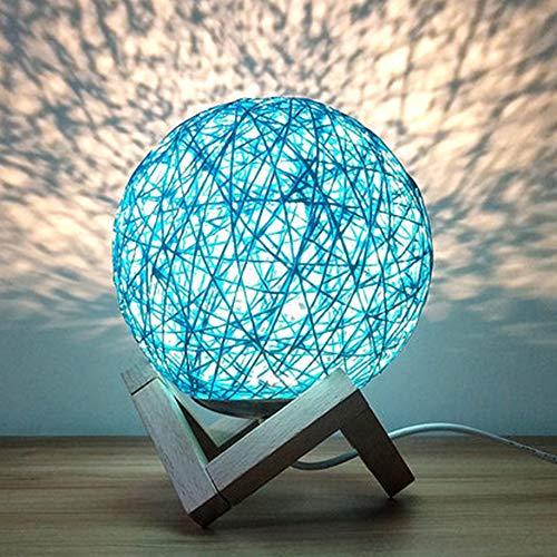 INJUICY Nordisch Schreibtischlampe, Modern Rattan Nachttischlampe, Kreativ Holzbasis Mond Nachtlicht für Kinderzimmer Geschenk (Blau, Schalter)