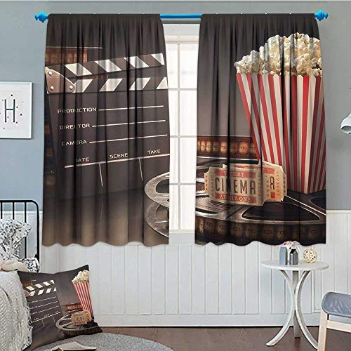 """SeptSonne Movie Theater Thermal Insulating Blackout Curtain Old Fashion Entertainment Objects Related to Cinema Film Reel Motion Picture Patterned Drape for Glass Door 52""""x63"""" ClothMulticolor"""