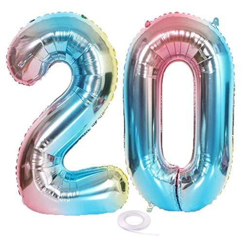 SNOWZAN Ballon chiffre 20 XL en forme de chiffre 20 ans Ballon gonflable arcenciel Pour fille et garçon Décoration d'anniversaire Bleu et rose 20 ans Ballon géant à l'hélium Happy Birthday Party