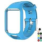 Correa de reemplazo Pulsera deportiva de gel de silicona suave Pulsera deportiva para TomTom Runner 2 / Runner 3 / Spark 3 / Aventurero / Golfista 2 Deportes GPS que se ejecuta Smartwatch (Azul)