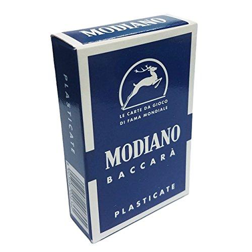 Modiano Baccara 15 Blue Fondo Neutro Solid Back Color 54 Spielkarten Baccarat