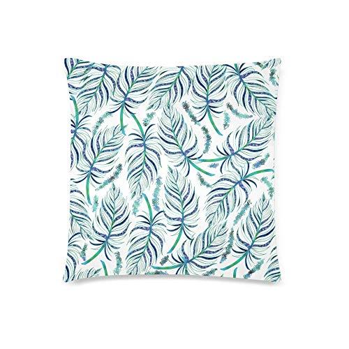 GOSMAO Verde Teal Azul Brillo Plumas de Moda Azul Oscuro Blanco Patrón sin Costuras Decoración Cojín Decorativo Funda de Almohada, Protector de Funda de Almohada