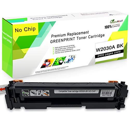 [Sin Chip] Compatible 415A W2030A Tóner Cartucho Negro GREENPRINT 2,400 Páginas para HP Color Laserjet Pro M454dn M454dw MFP M479dw M479fdn M479fdw M479fnw Impresoras, W2030A Negro