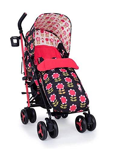 Cosatto Supa 3 Pushchair – Lightweight Stroller from Birth to 25kg - Compact Fold, Shopping Basket, Footmuff (Fairy Garden Daisy)