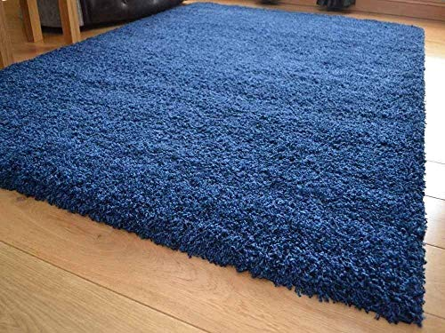 Soft Touch Shaggy Navy Blue Thick Luxurious Soft 5cm Dense Pile Rug. Available in 9...