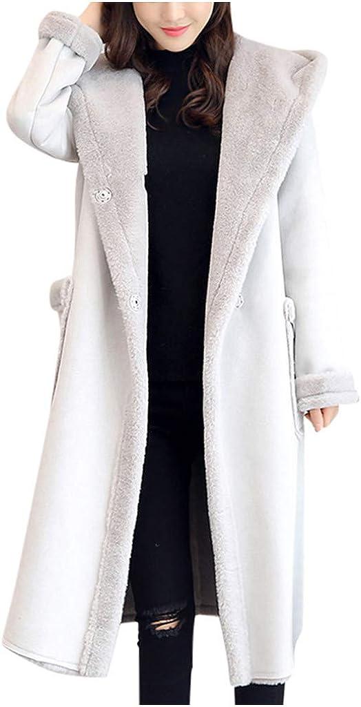 Sherpa Long Faux Fur Jacket Women, NRUTUP Lambskin Suede Leather Longline Fur Coat Hooded Winter Warm Work Casual