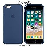 Funda Silicona para iPhone 6 y 6s Silicone Case, Textura Suave, Forro Microfibra (Azul-Cobalto)