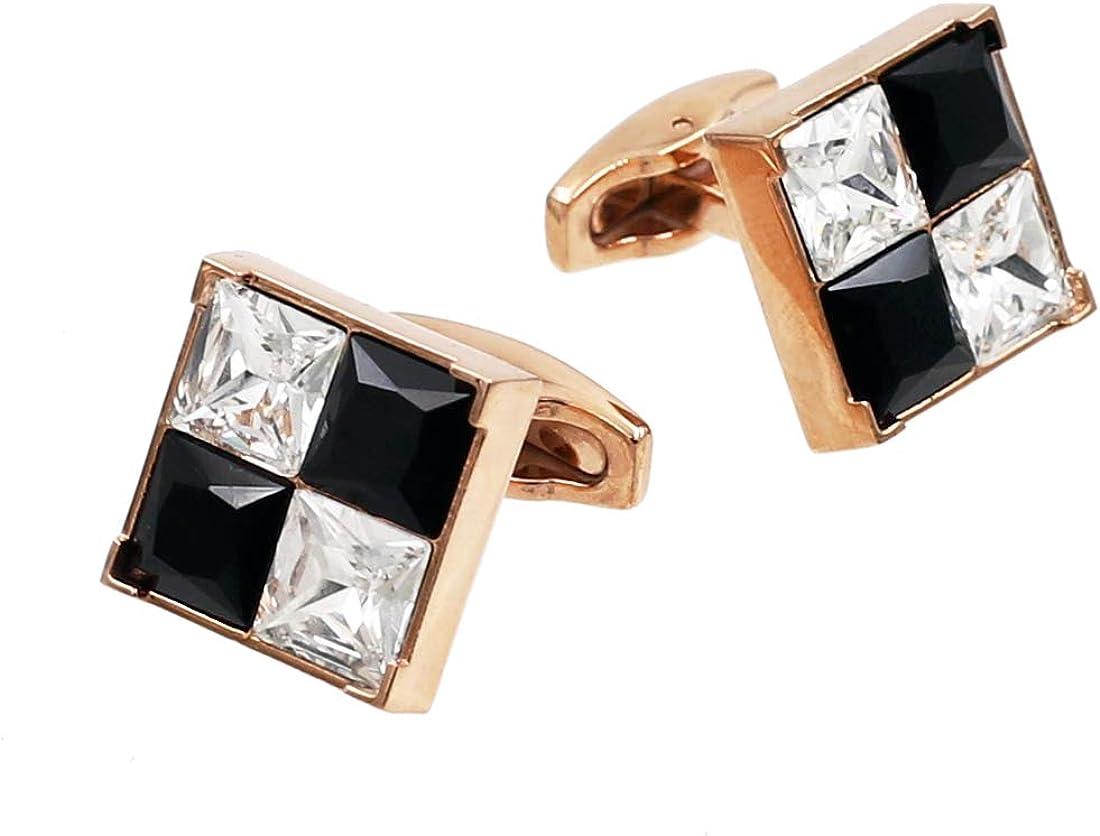 Black White Crystal Cufflinks Fashion Rose Gold Cufflinks Square Crystal Cuff links TK07