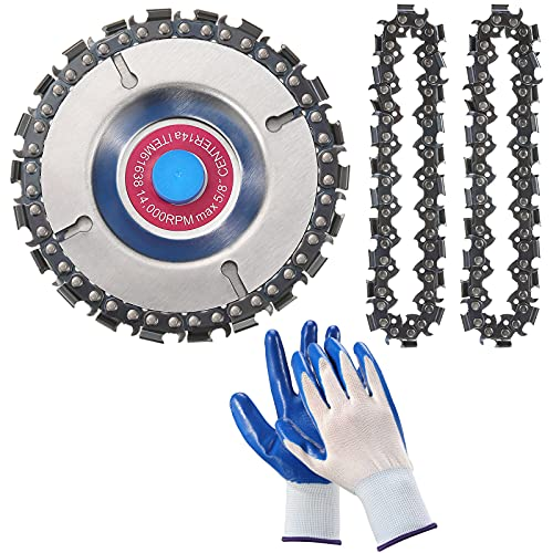 4 Pieces 5/8 Inch Wood Carving Chain Disc Set, 4 Inch 22 Teeth Saw Blade with Replacement Circlets and Protective Gloves for Grinder Chain Disc Grinding Shaping Attachment Circular Chainsaw Wheel